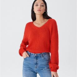 Sweter z bufiastymi rękawami - Pomarańczo. Szare swetry klasyczne damskie marki House, l. Za 79,99 zł.