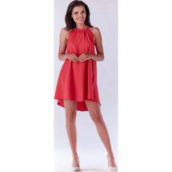 Różowa Trapezowa Sukienka Koktajlowa z Dekoltem Halter-neck. Czerwone sukienki balowe marki Molly.pl, na spacer, l, z dekoltem halter, na ramiączkach, mini, rozkloszowane. Za 119,90 zł.