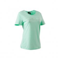 Koszulka krótki rękaw slim Gym & Pilates 500 damska. Zielone bluzki sportowe damskie Adidas, l, z bawełny, z krótkim rękawem. W wyprzedaży za 54,99 zł.