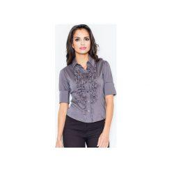 Koszula M025 Szary. Szare koszule damskie marki FIGL, m, z bawełny, eleganckie, z asymetrycznym kołnierzem, z długim rękawem. Za 77,00 zł.