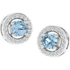 Kolczyki damskie: Złote kolczyki-wkrętki z diamentami i syntetycznym akwamarynem