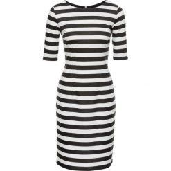 Sukienki: Sukienka w paski, z zamkiem bonprix biel wełny – czarny w paski