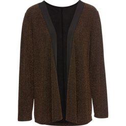 Żakiet shirtowy z połyskiem bonprix czarno-złocisty. Brązowe marynarki i żakiety damskie marki bonprix. Za 49,99 zł.