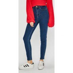 Vila - Jeansy. Niebieskie jeansy damskie rurki marki Vila, z bawełny, z podwyższonym stanem. Za 169,90 zł.