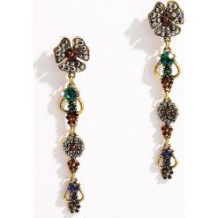 Kolczyki damskie: Długie kolczyki w kolorze starego złota - Wielobarwn