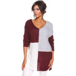 """Sweter """"Molly"""" w kolorze bordowo-szaro-białym. Swetry klasyczne damskie marki 100% Maille, s, z okrągłym kołnierzem. W wyprzedaży za 108,95 zł."""