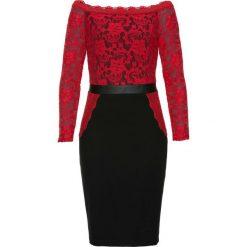 Sukienka bonprix czerwono-czarny. Czerwone sukienki balowe marki bonprix, w koronkowe wzory, z koronki. Za 109,99 zł.