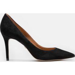 Czarne czółenka damskie. Czarne buty ślubne damskie Kazar, ze skóry, na wysokim obcasie. Za 469,00 zł.