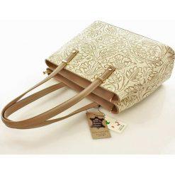 Torebki klasyczne damskie: Dwukomorowa torebka na ramię ze skóry naturalnej Genesis beżowa