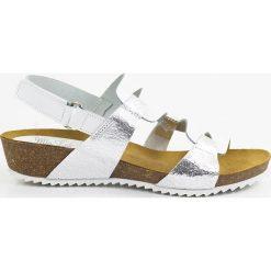Rzymianki damskie: Skórzane sandały w kolorze biało-srebrnym