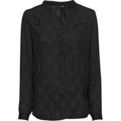 Bluzka, dekolt w serek bonprix czarny. Czarne bluzki wizytowe marki bonprix, z falbankami. Za 49,99 zł.