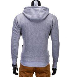 BLUZA MĘSKA ROZPINANA Z KAPTUREM B485 - SZARA/NIEBIESKA. Niebieskie bluzy męskie rozpinane marki Ombre Clothing, m, z bawełny, z kapturem. Za 39,00 zł.