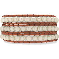 Bransoletki damskie: Skórzana bransoletka w kolorze brązowym z hodowlanymi perłami słodkowodnymi