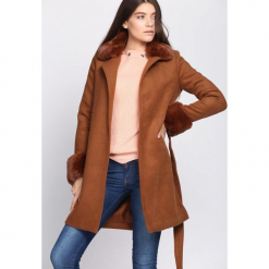 Brązowy Płaszcz Extend. Brązowe płaszcze damskie pastelowe Born2be, na jesień, l. Za 329,99 zł.