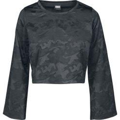 Urban Classics Ladies Short Jacquard Camo Longsleeve Bluza damska kamuflaż czarny. Czarne bluzy z nadrukiem damskie Urban Classics, m, z krótkim rękawem, krótkie. Za 62,90 zł.