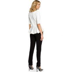 Bluzki asymetryczne: Elegancka bluzka z baskinką - ecru