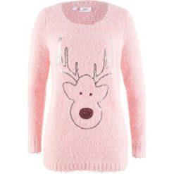 Sweter, długi rękaw bonprix jasnoróżowy pudrowy. Czerwone swetry klasyczne damskie bonprix. Za 99,99 zł.