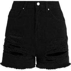 Bermudy damskie: Missguided HIGH WAISTED SHREDDED Szorty jeansowe black