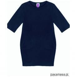 Sukienka dresowa dziecięca taliowana granat. Niebieskie sukienki dziewczęce marki Pakamera, z dresówki. Za 69,00 zł.