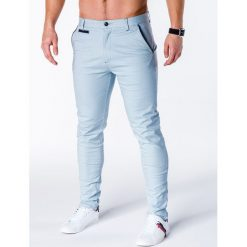 Spodnie męskie: SPODNIE MĘSKIE CHINO P646 – JASNONIEBIESKIE