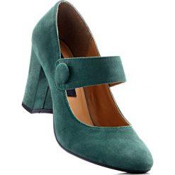 Buty ślubne damskie: Czółenka z paskiem bonprix zieleń jodły