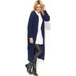 Płaszcze damskie: Granatowy Długi Sweter-Płaszcz z Rozciętymi Bokami