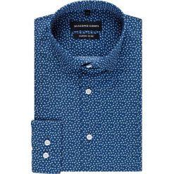 Koszula MICHELE KDFE000244. Niebieskie koszule męskie na spinki Giacomo Conti, m, paisley, z bawełny, z klasycznym kołnierzykiem. Za 169,00 zł.