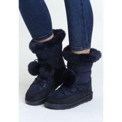 Granatowe Śniegowce Capitulation. Niebieskie buty zimowe damskie marki Born2be, na platformie. Za 99,99 zł.