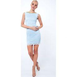 Sukienki: Sukienka koronkowa krótka jasnoniebieska G5283