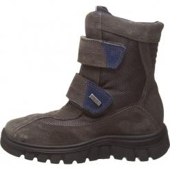 """Kozaki """"Bazena"""" w kolorze antracytowym. Szare buty zimowe chłopięce Naturino, z materiału. W wyprzedaży za 215,95 zł."""