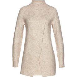 Długi sweter bonprix naturalny melanż. Białe golfy damskie bonprix, melanż, z długim rękawem. Za 129,99 zł.