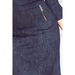 Marcella Sukienka z zamkami - Jeans granatowa. Niebieskie sukienki z falbanami marki numoco, na imprezę, s, w kwiaty, z jeansu, sportowe, sportowe. Za 129,99 zł.