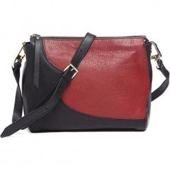 Skórzana torebka w kolorze czarno-bordowym - (S)25 x (W)19 x (G)10 cm. Czarne torebki klasyczne damskie Tosca Blu, w paski, z materiału. W wyprzedaży za 359,95 zł.