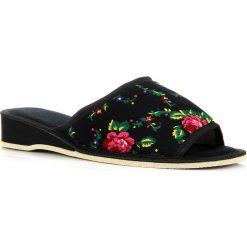 Kapcie damskie: ELIZA czarne damskie laczki domowe w kwiaty na klinie