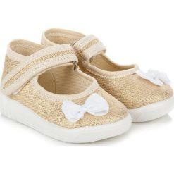 Buciki niemowlęce: RAWEKS Złote buciki z kokardką ANGELINA