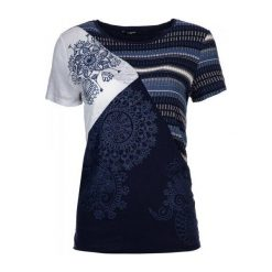 Desigual T-Shirt Damski M Ciemnoniebieski. Niebieskie t-shirty damskie Desigual, m, z kontrastowym kołnierzykiem. W wyprzedaży za 179,00 zł.