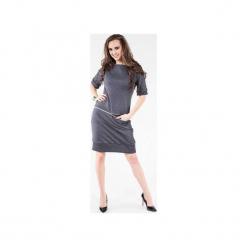 Sukienka z dresówki z poziomym zamkiem SL2163G. Szare sukienki balowe marki Soleil, z dresówki, sportowe. Za 129,00 zł.