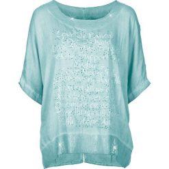 Bluzki asymetryczne: Bluzka z nadrukiem i cekinami bonprix morski pastelowy