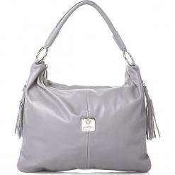 Skórzana torebka w kolorze szarym - 36 x 26 x 15 cm. Szare torebki klasyczne damskie I MEDICI FIRENZE, w paski, z materiału. W wyprzedaży za 391,95 zł.