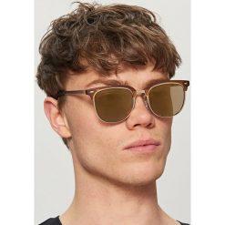 Okulary przeciwsłoneczne - Brązowy. Brązowe okulary przeciwsłoneczne męskie aviatory Reserved. Za 49,99 zł.