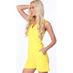 Kombinezony damskie: Kombinezon ze szpiczastym dekoltem żółty 9969
