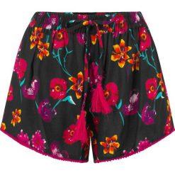 Szorty plażowe bonprix czarno-różowo-żółty z nadrukiem. Czarne szorty damskie z printem marki bonprix, z tkaniny. Za 74,99 zł.