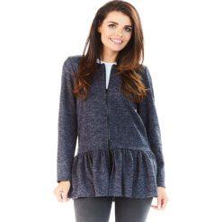 Swetry rozpinane damskie: Granatowy Długi Sweter na Suwak z Falbanką