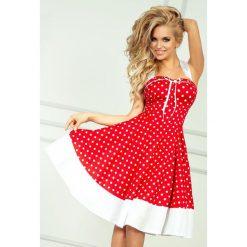 Federica Sukienka - czerwona w białe kropki. Zielone sukienki z falbanami numoco, w kropki, z kokardą. Za 149,99 zł.