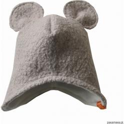 Czapka zimowa z zakrywająca uszy - jasny szary. Szare czapeczki niemowlęce marki Pakamera, na zimę, z polaru. Za 79,00 zł.