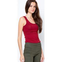 Bluzki damskie: Bluzka basic na szerokich ramiączkach bordowa