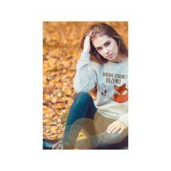 Królowa jesiennej drzemki bluza uni. Szare bluzy z nadrukiem damskie One mug a day, na jesień, s, z bawełny. Za 129,00 zł.