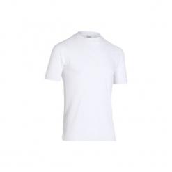 Podkoszulka krótki rękaw na rower 100. Białe podkoszulki męskie marki B'TWIN, z elastanu. Za 34,99 zł.