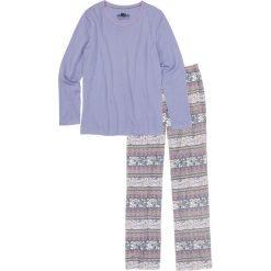 Piżamy damskie: Piżama, bawełna organiczna bonprix biel wełny – kolor bzu z nadrukiem