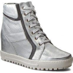 Sneakersy EKSBUT - 4128-C77/369/F94 Srebro Lic. Szare botki damskie na obcasie Eksbut, ze skóry. W wyprzedaży za 259,00 zł.